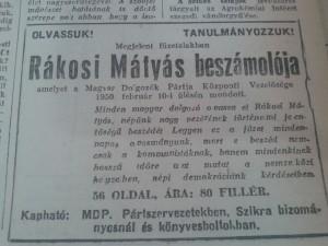 Magyar Nemzet, 1950. március - Olvassuk, tanulmányozzuk Rákosi beszédét!